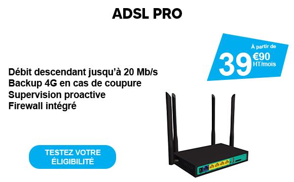 Affiche promotionnelle sur fond blanc ADSL PRO