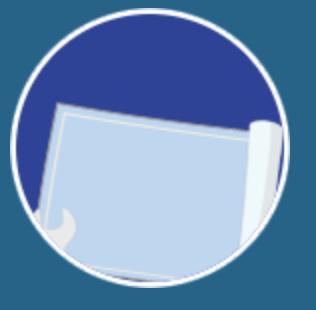 Icône illustrant la configuration du standard virtuel sur fond bleu